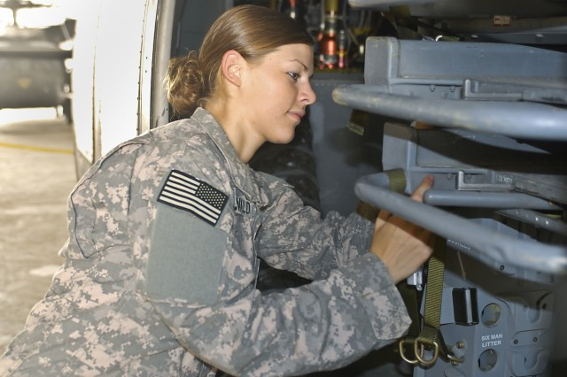 Spc. Marie MacDonald, from Chattanooga, Tenn., a UH-60 Black Hawk helicopter mechanic, 615th Aviation Support Battalion, 1st Air Cavalry Brigade, 1st Cavalry Division, carefully performs a maintenance check on the ambulatory litter system of a medevac Black Hawk at Camp Buehring, Kuwait, May 11, as the battalion readies its aircraft for their upcoming deployment to Iraq.