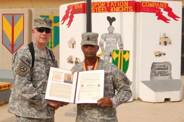 Transportation first sergeant awarded St. Christopher medallion
