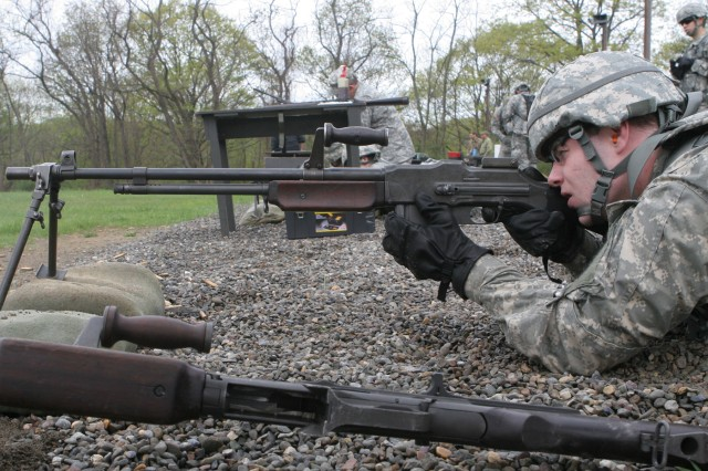 A cadet engages a target during the Historical Weapons Shoot on Sat., May 2.