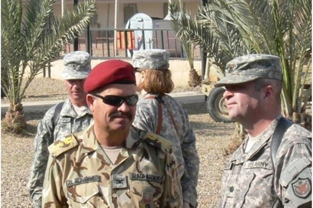 Iraqi Army General Transport Regiment commander Col. Muhammed joined Coalition leaders from the 419th Combat Sustainment Support Battalion and 10th Sustainment Brigade during the 68th Transportation Company change of command ceremony at Camp Taji