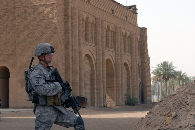 BAGHDAD - 1st Lt. Jeffrey Wismann, a platoon leader with 1st Battalion, 505th Parachute Infantry Regiment, stands watch May 7 at the Arch of Kessura, an ancient structure built by a Persian king more than 2,000 years ago. The structure is the oldest free-standing arch in the world.