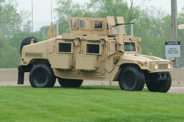 This M1151 was the first HMMWV to carry the new FRAG Kit 6 that is being produced at the Rock Island Arsenal Joint Manufacturing and Technology Center.
