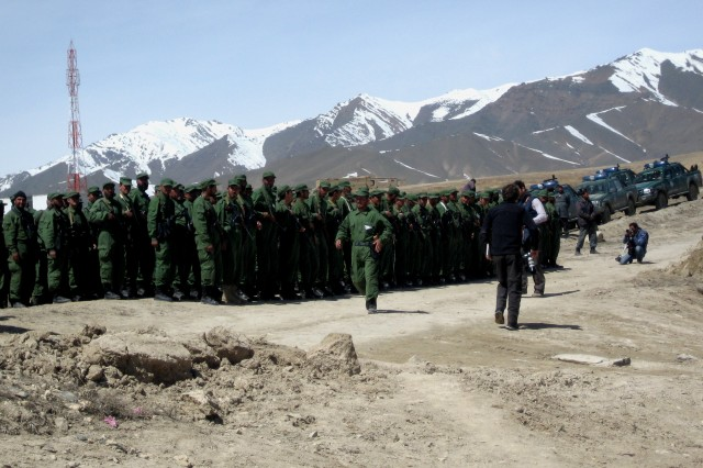 Local officials attend the Afghan Public Protection Force graduation in the Jalrez Valley of Afghanistan's Wardak province, April 1, 2009.