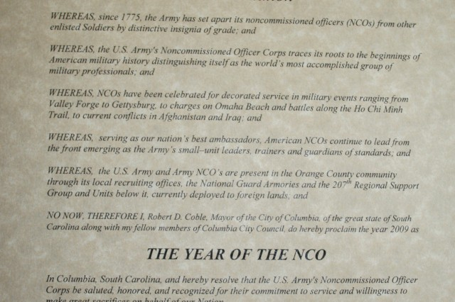 City of Columbia Year of NCO Proclamation