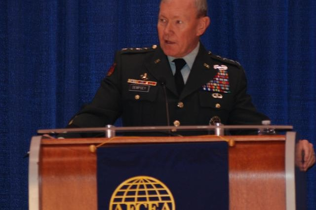 The TRADOC commanding general, Gen. Martin Dempsey, speaks at the Joint Warfighting Conference at the Virginia Beach, Va. Convention Center. The general spoke about the commitment of developing leaders and hybrid threats the Army will face in the future.