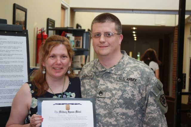 Jennifer Humphrey was named Military Spouse of the Year for Fort Belvoir. She stands with her husband, Staff Sgt. Nicholas Humphrey, who wrote an essay nominating his wife for the award.