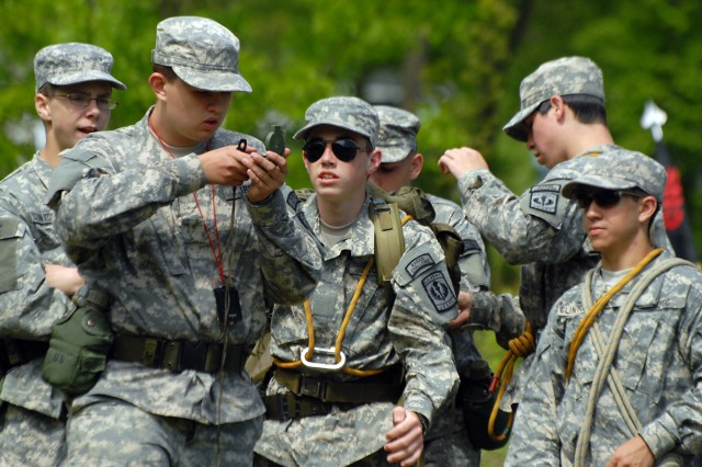 Clinton (Mo.) JROTC cadets begin a land navigation event during the Leavenworth High School-sponsored Raider Challenge May 9 at Camp Miles at Fort Leavenoworth, Kan. Ten teams from eight schools participated in the challenge.