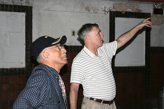 John Brenneman, Department of Public Works, Fort Sam Houston, (right) escorted Fred Burton into the old Fort Sam Houston Main Theater, April 28 to look around.