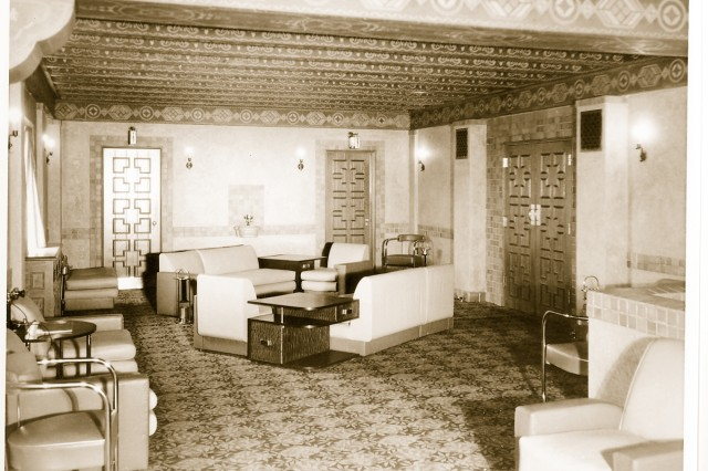 Interior view of main lobby of the Fort Sam Houston Main Movie Theater in 1935, the year it opened on post.