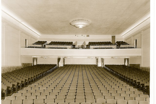 View from center stage of old Fort Sam Houston Main Movie Theater.