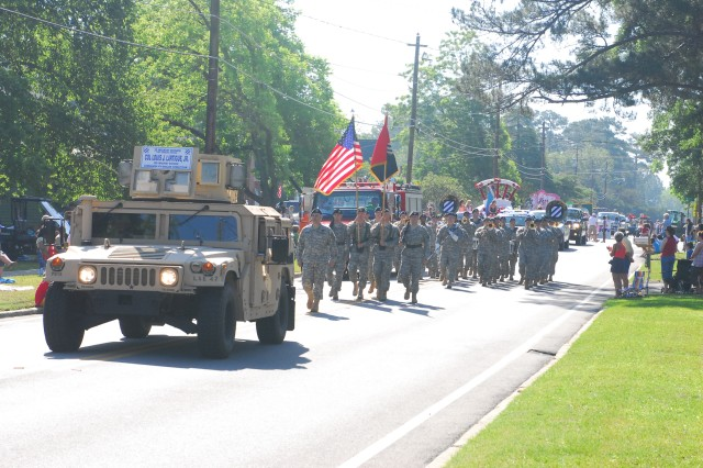 Marne Soldiers, led by Vanguard Brigade Commander, Col. Lou Lartigue, march in the 33rd annual Glennville Sweet Onion Festival, May 9.