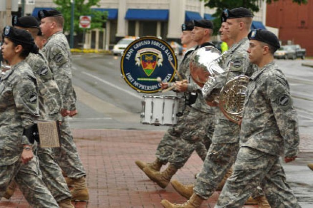 Members of the U.S. Army Ground Forces Band entertain watchers of the 60th annual Armed Forces Day parade May 1 in Chattanooga, Tenn.
