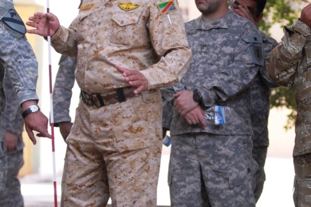 BAGHDAD - Lt. Col. Hatem Hameed, 11th Iraqi Army Engineer Regiment commander, briefs the route the engineers will travel during a route clearance training mission May 13.