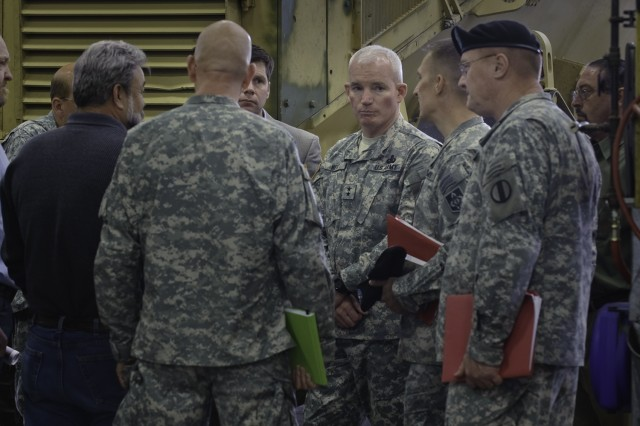 Maj. Gen. Scott G. West, Commander, TACOM-LCMC and members of his staff visited Fort Leonard Wood, May 5, to recognize the efforts which have produced the Army's finest example of the Fleet Management program.