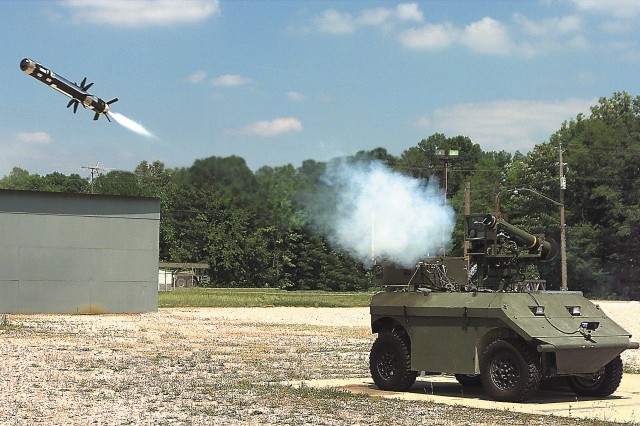 An unmanned ground vehicle launches a tube-launched, optically-tracked, wire-guided missile.