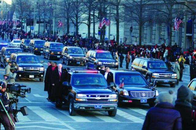 NCOs of the White House Transportation Agency accompany the presidential motorcade on Inauguration Day. Their duties include transportation for White House staff, press corps and guests of the president on the ground and in the air. (Courtesy photo by Eleena Fikhman)
