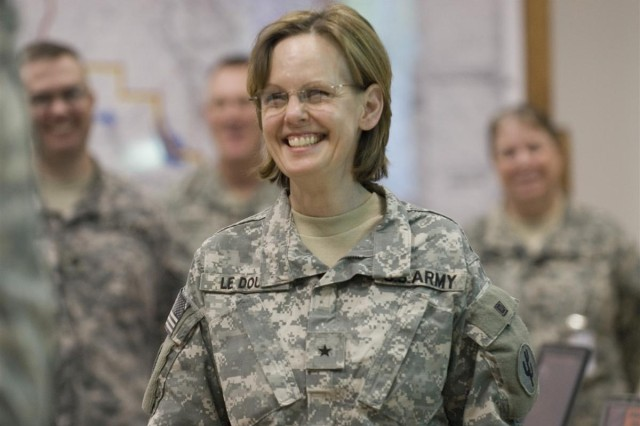 Brig. Gen. Karen E. LeDoux, 103rd Sustainment Command Expeditionary commanding general, U.S. Army Reserves from Des Moines, Iowa visited Soldiers from the 3d ESC and its subordinate units at Joint Base Balad, Iraq April 23.