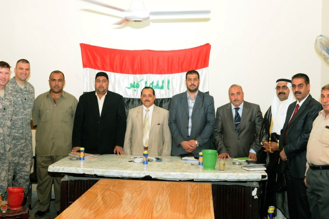 CONTINGENCY OPERATING BASE SPEICHER, TIKRIT, Iraq -Members of Ad Dujayl City Council, provincial government and Coalition Forces, gathered to meet and discuss essential services and projects that will eventually lead to new sewer systems for the people of the qada, May 12.
