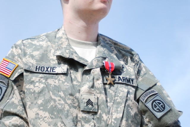 Philippi, W. Va. native, Sgt. John Hoxie, Co. C, 1st Battalion 325th Airborne Infantry Regiment, 2nd Brigade Combat Team, 82nd Airborne Division, received a Bronze Star at an award ceremony May 19. Hoxie was injured during a 2007 deployment to Iraq.