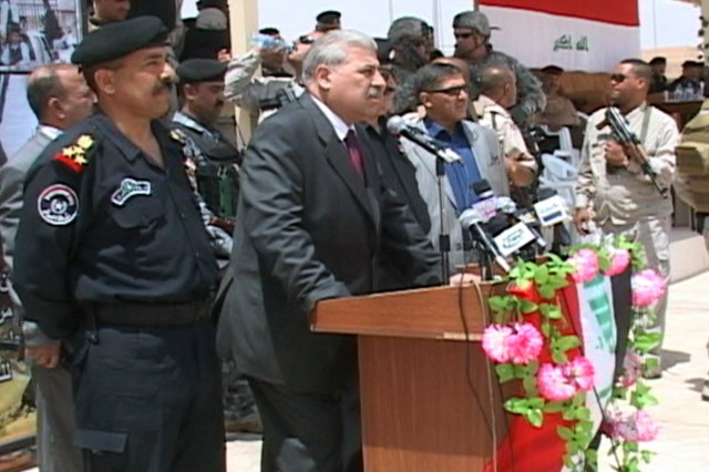 Ninewah Provincial Governor Atheel Al-Nujaifi speaks to a group of Iraqi Police basic training graduates during the last Iraqi Police basic training graduation ceremony in Mosul on May 11, 2009. This graduation marks the last class to graduate, fullfilling the requirement set by the Iraqi Ministry of Interior to have Iraqi Police that are currently working to receive formal basic training.