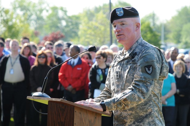 MG Scott G. West addresses the Armed Forces Day crowd at the Detroit Arsenal, Warren, Mich., during TACOM's groundbreaking ceremony.