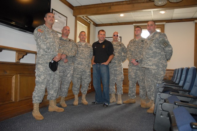 Newman met with Soldiers from the Warrior Transition Unit during his visit to Fort Jackson Monday.