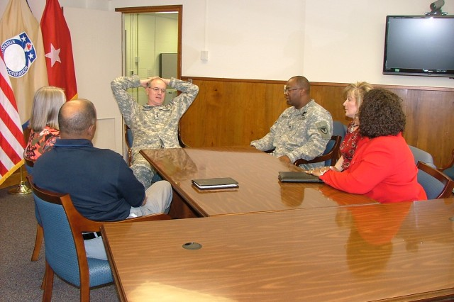 Lt. Gen. James H. Pillsbury visits Redstone Arsenal