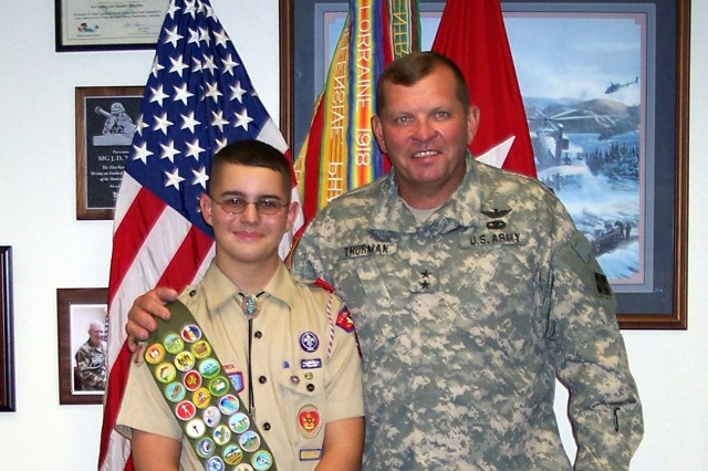 Eagle Scout Justin Brundin and then-commander of the 4th Infantry Division J.D. Thurman after the first Eagle Scout Drive