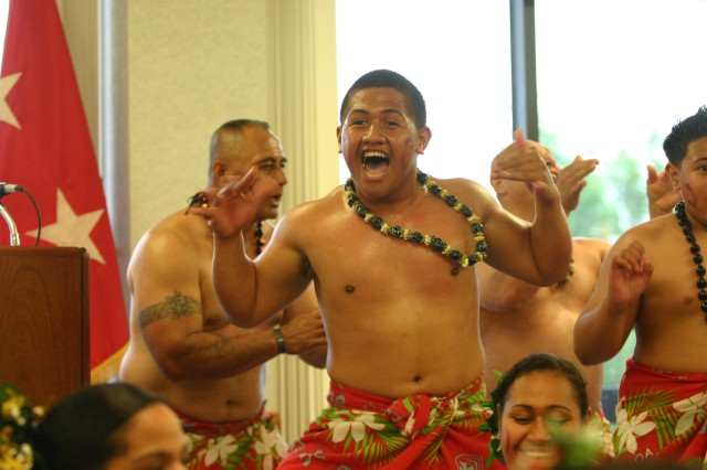 A member from the Sons and Daughters of Samoa dances as part of the entertainment portion of the Asian Pacific American Heritage Month celebration May 15 at the Riley\'s Conference Center. Following the entertainment U.S. Congressman Eni F. H. Faleomaveaga spoke about the accomplishments made in American history.