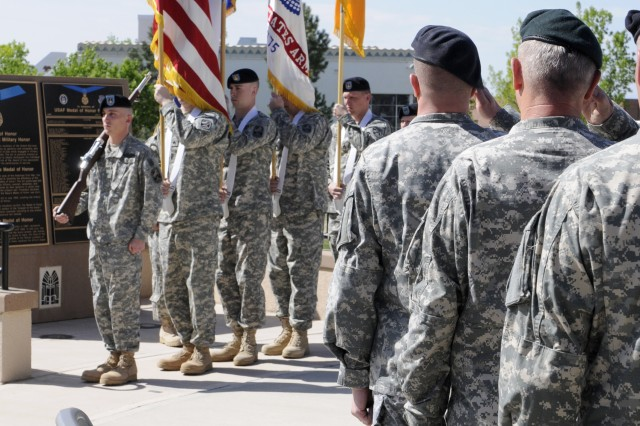 Soldiers from the 49th Missile Defense Bn. (GMD) proudly form a color guard for the 100th Missile Defense Bde. (GMD) Change of Command.