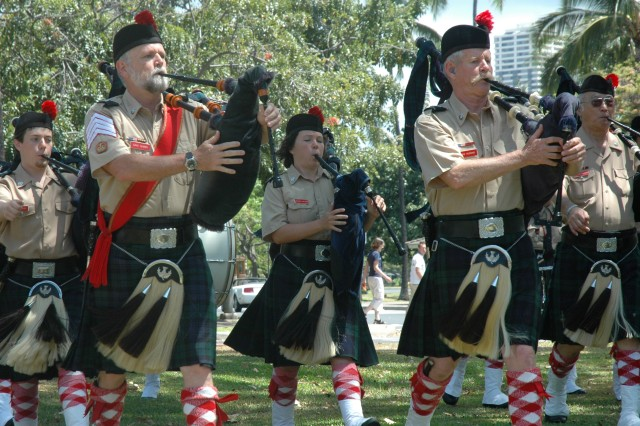 FORT DERUSSY, Hawaii - Pipe major Dan Quinn, front row at left, and Mike Hudgins lead the group known as the Celtic Pipes and Drums of Hawaii during the 10th Annual Living History Day at the U.S. Army Museum of Hawaii, May 16.