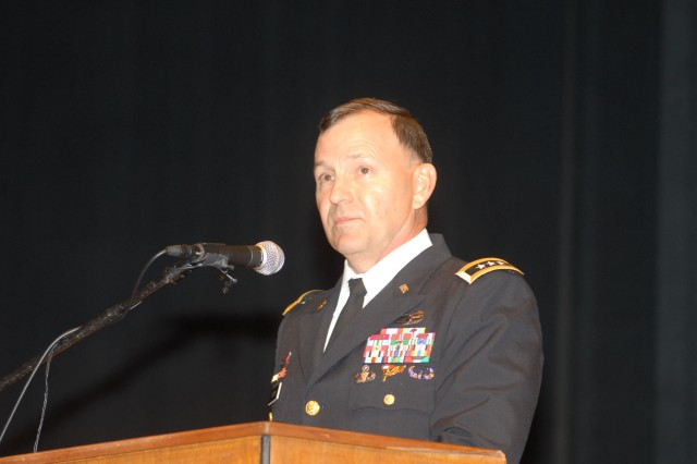 MANOA, Hawaii - Lt. Gen. Benjamin R. Mixon, commanding general, U.S. Army-Pacific, speaks to newly commissioned officers at the University of Hawaii ROTC commissioning ceremony, May 17.