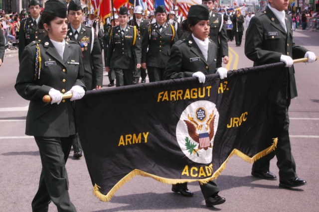 U.S. Army JROTC Cadets from the Farragut High School Academy, march down Cermak Road, during the 2009, Cinco De Mayo Parade in downtown Chicago, the largest in the Midwest.  The parade was Chicagoland's 26th annual and attracted thousands of attendees.
