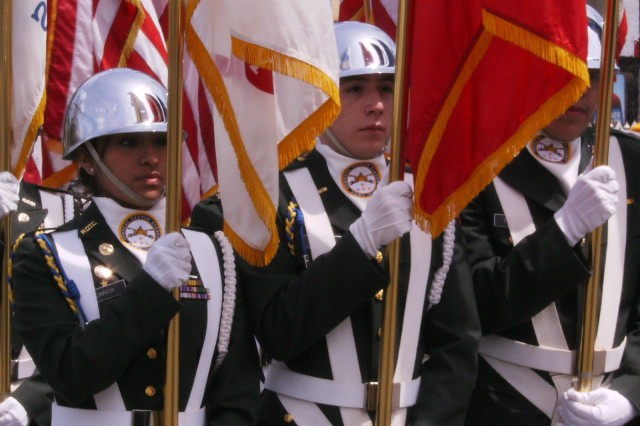 U.S. Army ROTC Cadets from the General Patton Academy, present the Colors for the Cinco De Mayo Parade in downtown Chicago, on Sunday, 03 May, 2009. The Casa Puebla Chamber of Commerce President, Mr Hector Escobar Jr., invited the Cadets to participate in their 26th Annual celebration that attracted several thousand attendees.