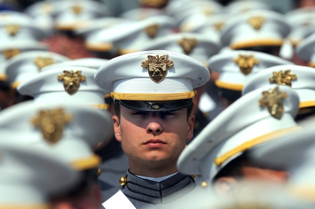A cadet at the graduation ceremony for U.S. Military Academy at West Point, N.Y., listens to Defense Secretary Robert M. Gates' remarks, May 23, 2009.
