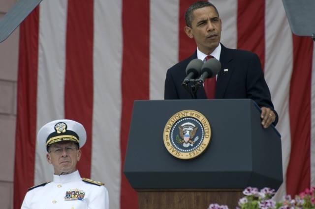 President Barack Obama addresses the audience attending Memorial Day commemorations at Arlington National Cemetery in Arlington, Va., May 25, 2009. Navy Adm. Mike Mullen, chairman of the Joint Chiefs of Staff, also spoke during the ceremony.