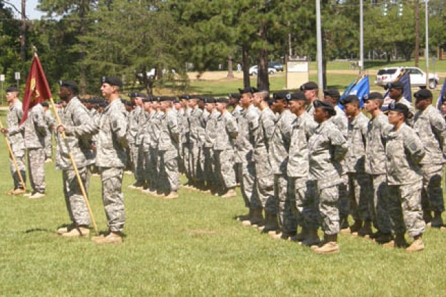 Companies within the 142nd Combat Sustainment Support Battalion are at parade rest during a farewell ceremony held at the 1st Maneuver Enhancement Brigade Field May 19. The 142nd is moving to Fort Bliss, Texas, as part of the Army's global repositioning plan.