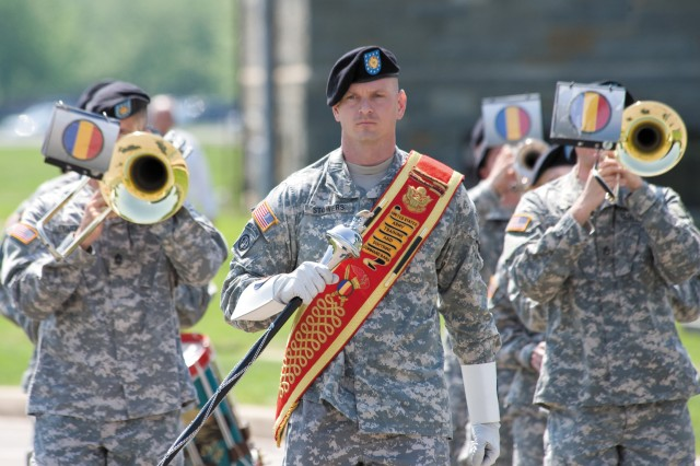 Staff Sgt. Thomas Stowers leads the U.S. Army Training and Doctrine Command Band from Fort Monroe, Va., onto Ordnance Circle.