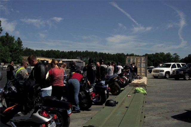 Riders prepare to depart on the 60-mile poker run. More than 50 riders on 42 motorcyles registered and participated in the day-long event.
