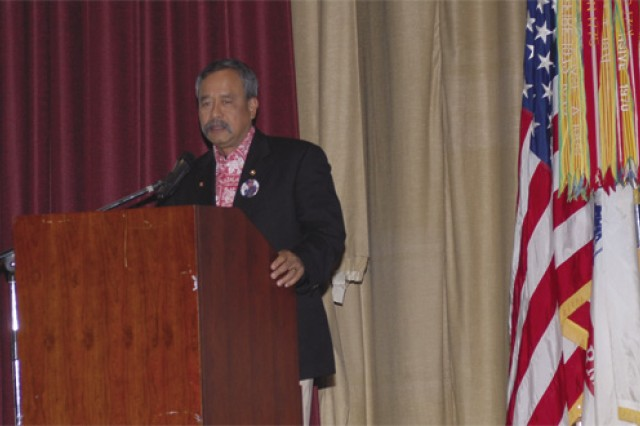 Allen Kaleiolani Hoe, a civilian aide to the secretary of the Army, speaks during the Fort Eustis Asian-Pacific American Heritage Month observance May 21 at Jacobs Theater. Hoe, a licensed attorney in Hawaii since 1977, is also a Vietnam veteran and current president of the Honolulu Polo Club.