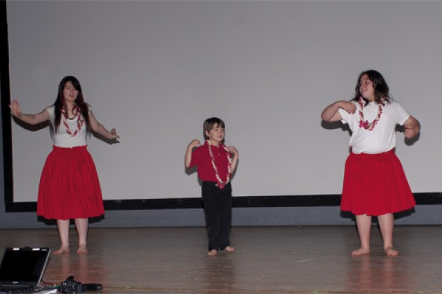 Kinderhula Polynesian dancers perform during the Fort Eustis Asian-Pacific American Heritage Month observance at Jacobs Theater May 21.