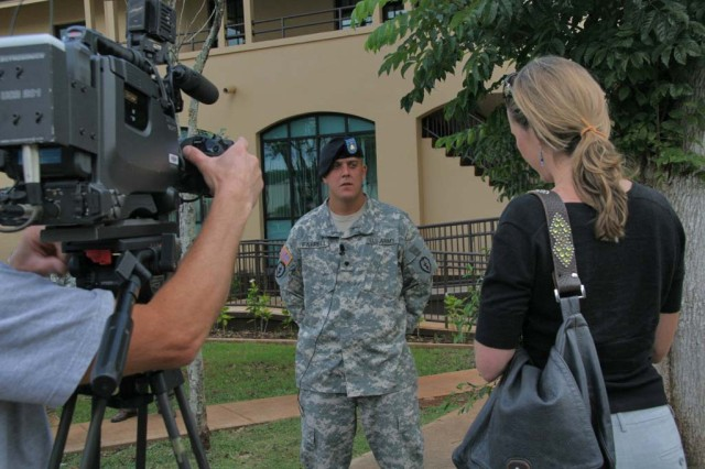 Spc. Jesse Farrell of the 2nd Stryker Brigade is asked by KITV reporter Shayne Enright, how he felt about taking the SELF survey.