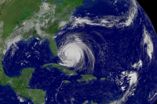 Pictured from space, Hurricane Frances lashes the Bahamas Islands on Sept. 3, 2004.