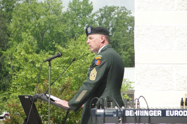 Command Sgt. Maj. David Bruner, the TRADOC Command Sergeant Major, speaks at the Memorial Day service in Suffolk, Va.
