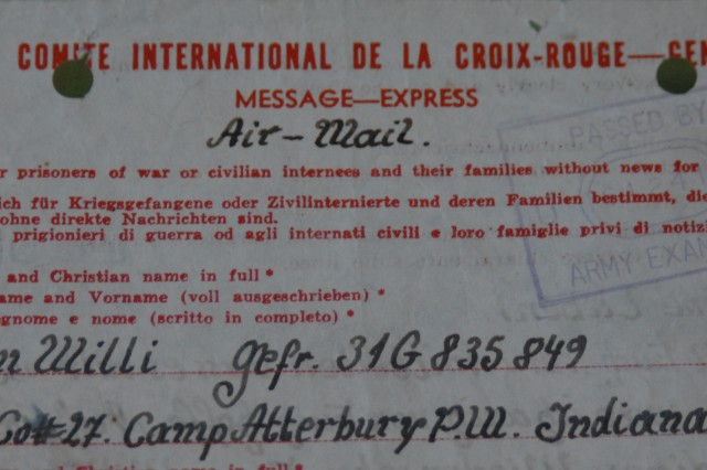 This Red Cross communication informed the Simon family that their son Willi was not dead -- as previously assumed -- but was a prisoner of war at Camp Atterbury, Ind. prior to being sent to Fort Knox.