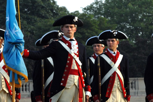 Soldiers from the Commander in Chiefs Guard, Company A, 4th Battalion, 3rd U.S. Infantry Regiment (The Old Guard) represent the Army\'s past in a Twilight Tattoo performance on May 27, 2009.