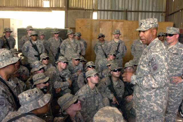 BAGHDAD - Command Sgt. Maj. Thomas Capel, senior enlisted leader of the 82nd Airborne Division, talks to Paratroopers assigned 5th Squadron, 73rd Cavalry Regiment, 3rd Brigade Combat Team, 82nd Abn. Div., Multi-National Division - Baghdad, May 21, at Joint Security Station Loyalty, located in the 9 Nissan district of eastern Baghdad. Capel, along with Maj. Gen. Scararrotti, commander of the 82nd Abn. Div., thanked the Paratroopers for their service.