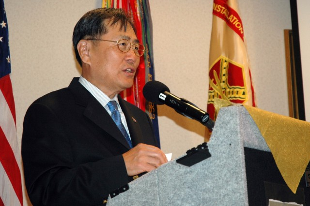 Sunny Park, vice president of the Georgia Ports Authority, was the featured speaker at the U.S. Army Garrison's Asian-Pacific Heritage Month celebration event held May 20 at The Commons at Fort McPherson.