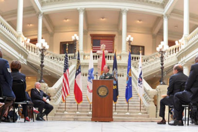 The U.S. Army Forces Command commanding general, Gen. Charles C. Campbell, delivers the keynote speech during Georgia Governor Sonny Perdue's Memorial Day proclamation signing ceremony at the state capitol May 21.