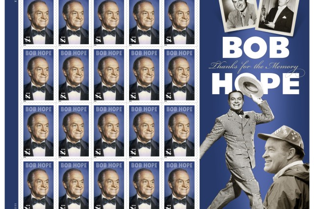 The U.S. Postal Service released its Bob Hope stamps in a ceremony, May 29, in San Diego, Calif., aboard the decommissioned aircraft carrier USS Midway which Hope performed aboard in 1972 and in 1987.